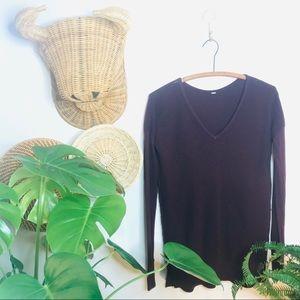 vtg retro maroon wine waffle weave v neck sweater